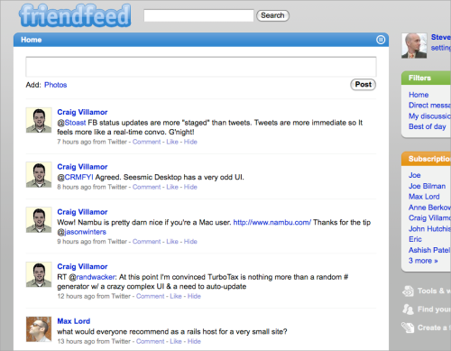 """FriendFeed's new Twitter-like interface. Note the """"pause"""" button, upper-right."""
