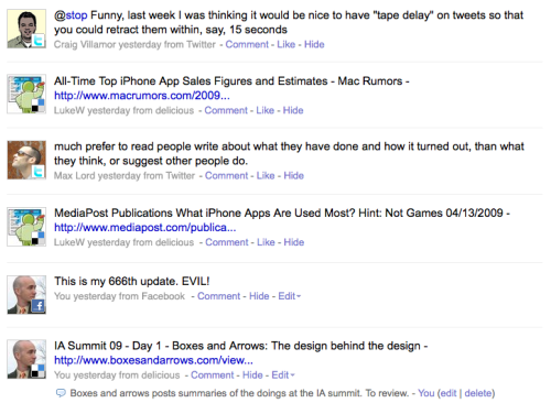 Five-minute redesign of FriendFeed.